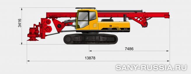 Буровая установка SANY SR180 в транспортном положении