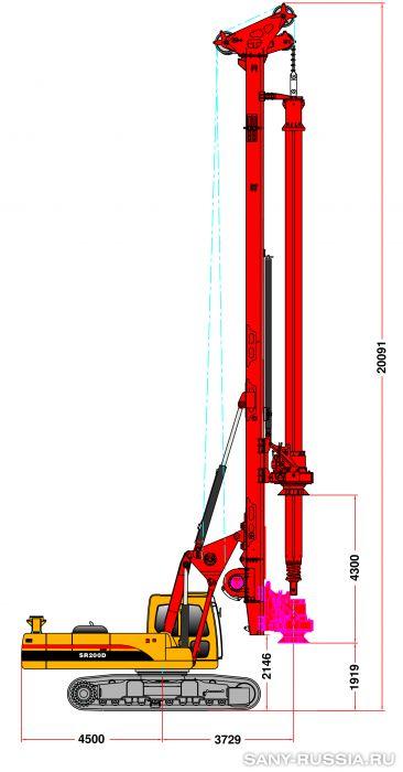 Буровая установка с электроприводом SANY SR200D в рабочем положении