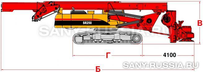 Буровая установка SANY SR250 в транспортном положении