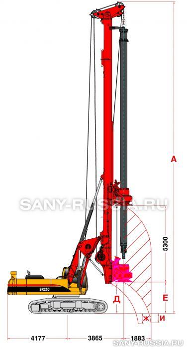 Буровая установка SANY SR250 в рабочем положении