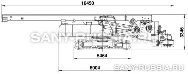 Буровая установка SANY SR250M в транспортном положении
