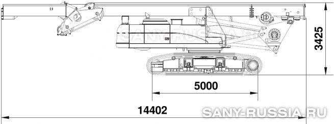 Буровая установка SANY SR250R в транспортном положении