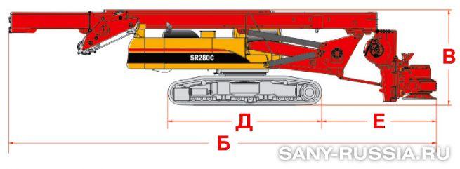 Буровая установка SANY SR280C в транспортном положении