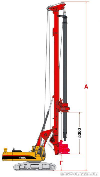 Буровая установка SANY SR280C в рабочем положении