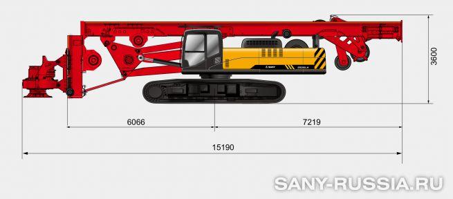 Буровая установка SANY SR280LH в транспортном положении