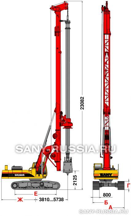 Буровая установка SANY SR280R в рабочем положении