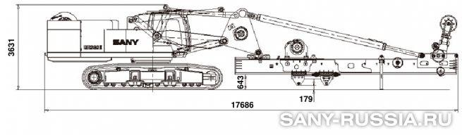 Буровая установка SANY SR360 II в транспортном положении (с приводом ротора)