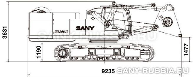 Буровая установка SANY SR360 II в транспортном положении (без привода ротора)