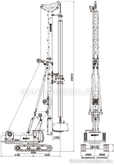 Буровая установка SANY SR360 II в рабочем положении
