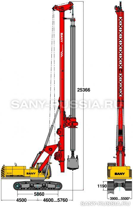 Буровая установка SANY SR420 в рабочем положении