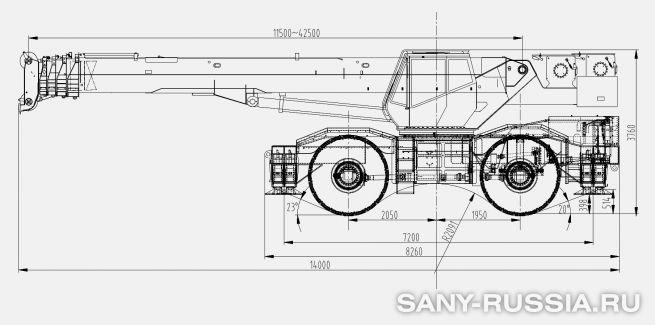 Размеры самоходного крана SANY SRC550H