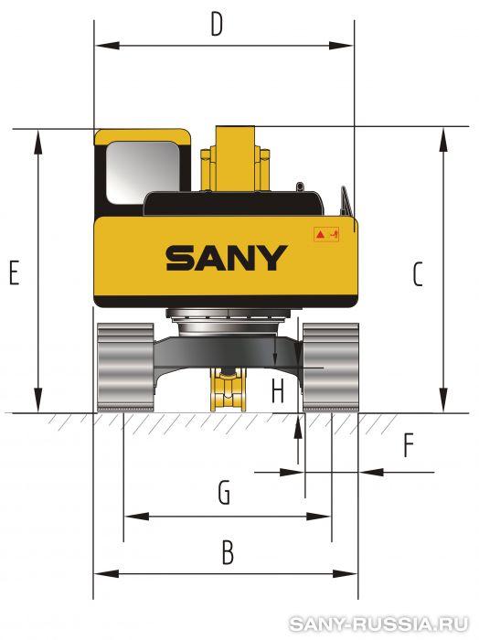 Размеры экскаватора SANY SY135C III