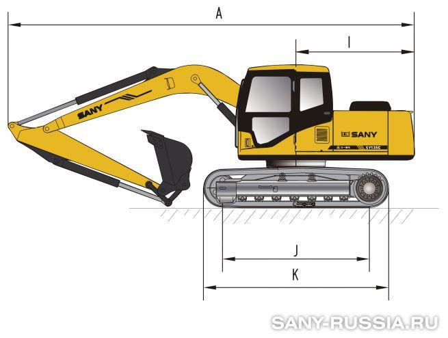 Размеры экскаватора SANY SY135C