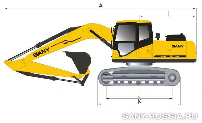 Размеры экскаватора SANY SY205C