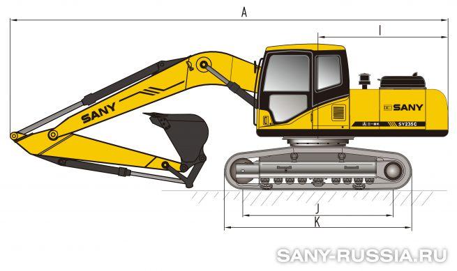 Размеры экскаватора SANY SY235C