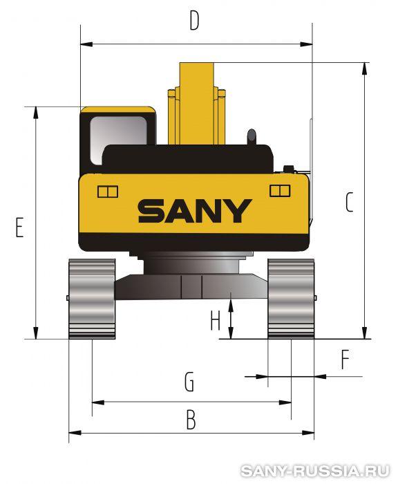 Размеры экскаватора SANY SY365C