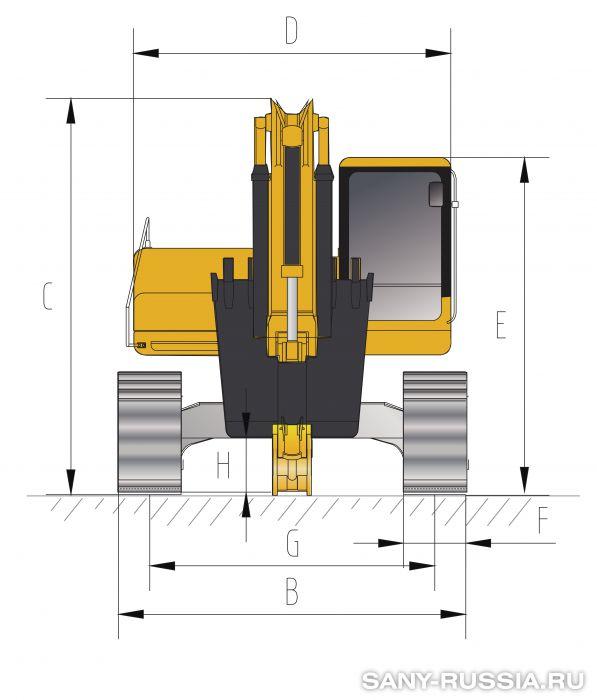 Размеры экскаватора SANY SY465C