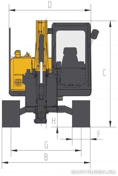 Размеры экскаватора SANY SY75C III