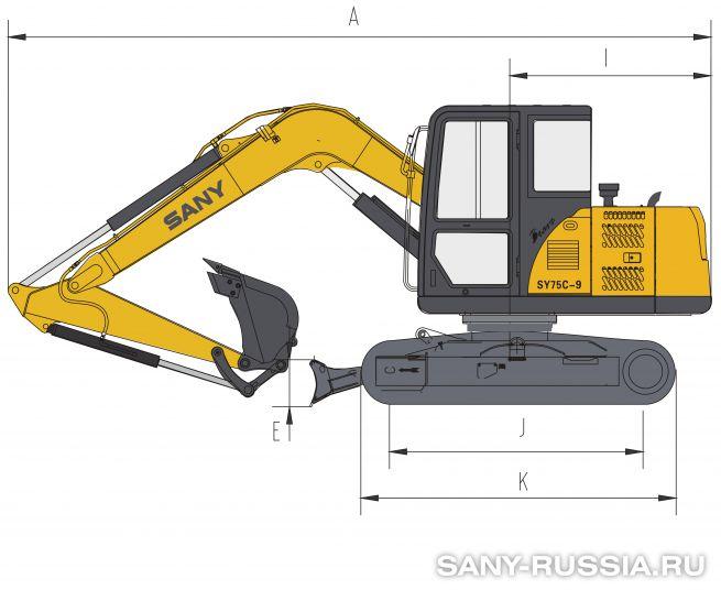 Размеры экскаватора SANY SY75C