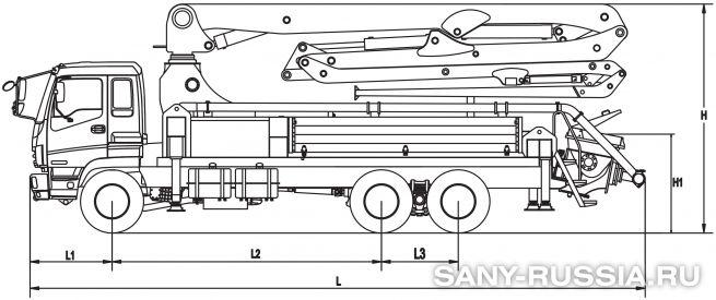 Размеры автобетононасоса SANY 28 м