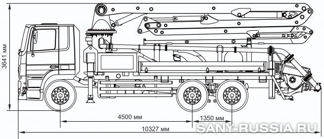 Габаритные размеры и колесная база автобетононасоса SANY SYG5230THB-28