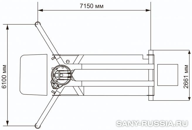 Расстояния между выносными опорами автобетононасоса SANY SYG5230THB-28