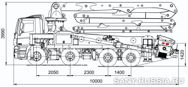 Габаритные размеры и колесная база автобетононасоса SANY SYG5260THB-36