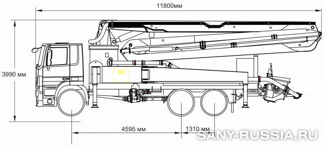 Габаритные размеры и колесная база автобетононасоса SANY SYG5260THB-37