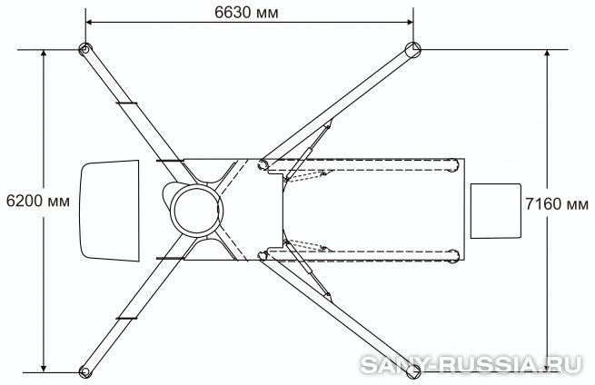 Расстояния между выносными опорами автобетононасоса SANY SYG5260THB-37