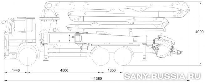 Габаритные размеры и колесная база автобетононасоса SANY SYG5271THB-38