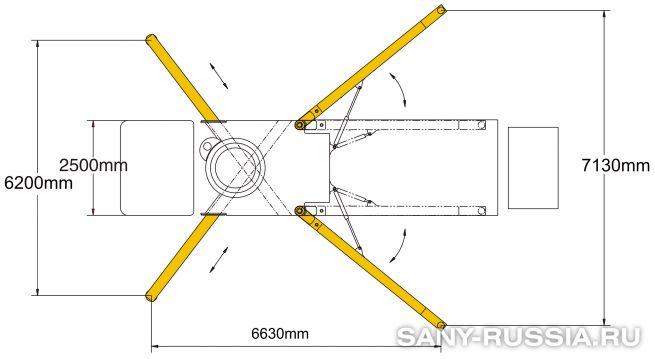 Расстояния между выносными опорами автобетононасоса SANY SYG5271THB-38