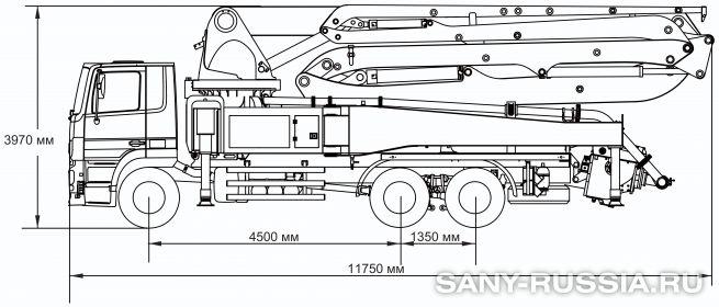 Габаритные размеры и колесная база автобетононасоса SANY SYG5310THB-40