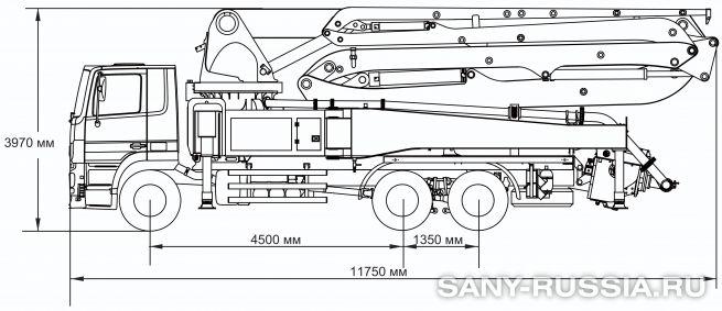 Габаритные размеры и колесная база автобетононасоса SANY SYG5310THB-43