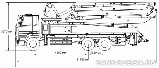 Габаритные размеры и колесная база автобетононасоса SANY SYG5310THB-46