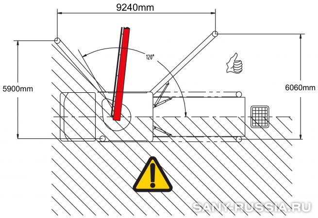 Одностороннее выдвижение выносных опор автобетононасоса SANY SYG5360THB-47 C8