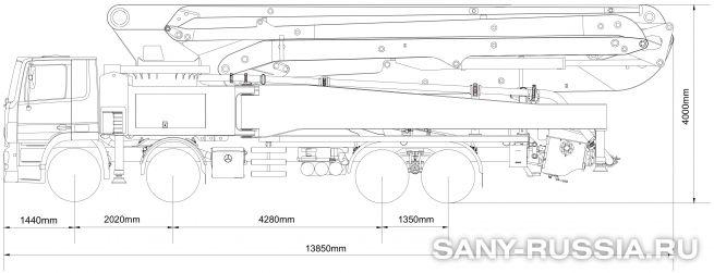 Габаритные размеры и колесная база автобетононасоса SANY SYG5418THB-53