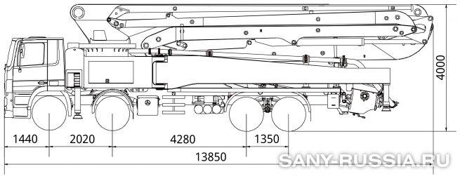 Габаритные размеры и колесная база автобетононасоса SANY SYG5418THB-56-HP