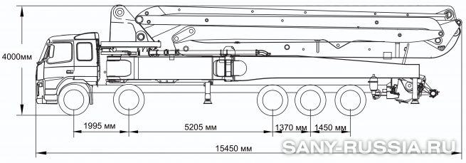 Габаритные размеры и колесная база автобетононасоса SANY SYG5502THB-58