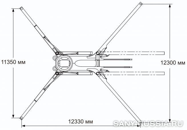 Расстояния между выносными опорами автобетононасоса SANY SYG5502THB-58
