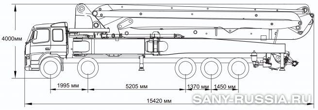 Габаритные размеры и колесная база автобетононасоса SANY SYG5502THB-60