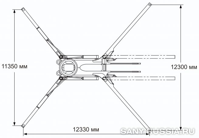 Расстояния между выносными опорами автобетононасоса SANY SYG5502THB-60