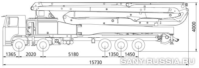 Габаритные размеры и колесная база автобетононасоса SANY SYG5530THB-62-HP