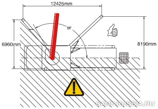 Одностороннее выдвижение выносных опор автобетононасоса SANY SYG5530THB-62-HP