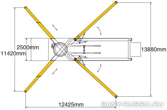 Расстояния между выносными опорами автобетононасоса SANY SYG5530THB-62